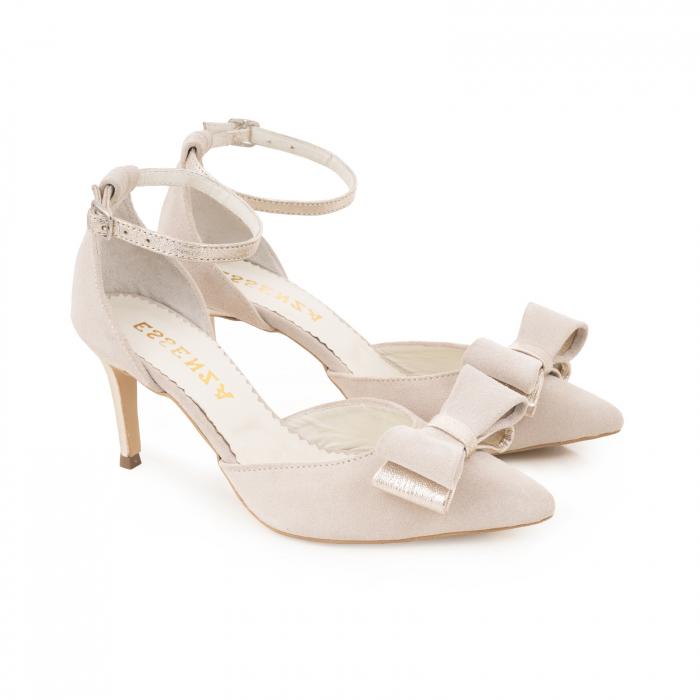 Pantofi stiletto cu funda dubla, din piele naturala bej si auriu pal 2