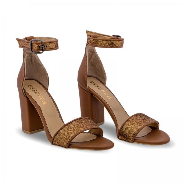 Sandale cu toc gros, din piele naturala maron si aurie [1]