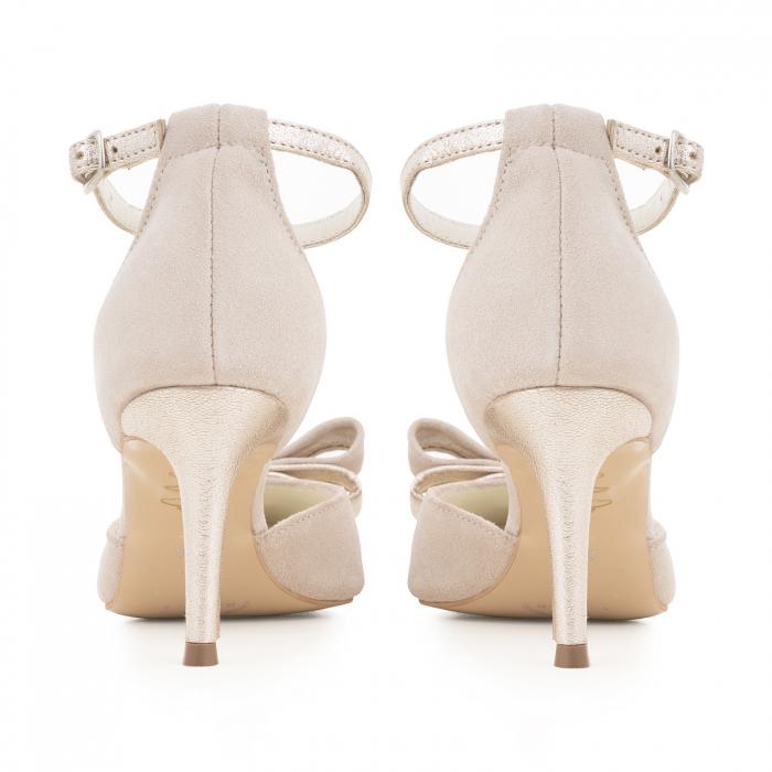 Pantofi stiletto cu funda dubla, din piele naturala bej si auriu pal 4