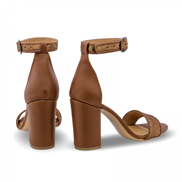 Sandale cu toc gros, din piele naturala maron si aurie [2]