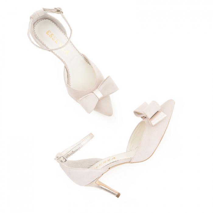 Pantofi stiletto cu funda dubla, din piele naturala bej si auriu pal 3