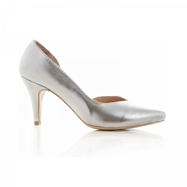 Pantofi stiletto din piele laminata argintie, cu decupaj interior 0