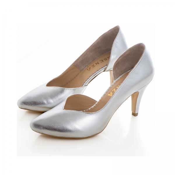 Pantofi stiletto din piele laminata argintie, cu decupaj interior 1