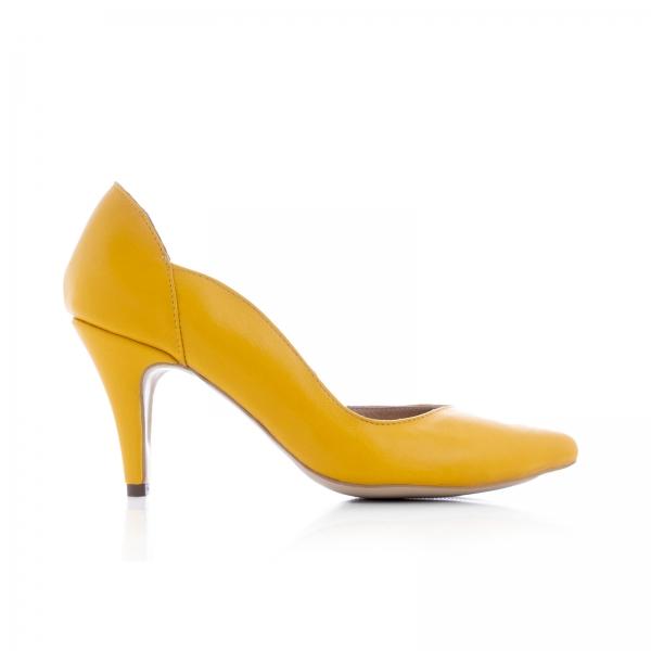 Pantofi stiletto din piele naturala galbena 0