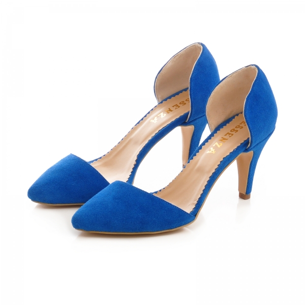 Pntofi stiletto decupati, albastru intens [2]