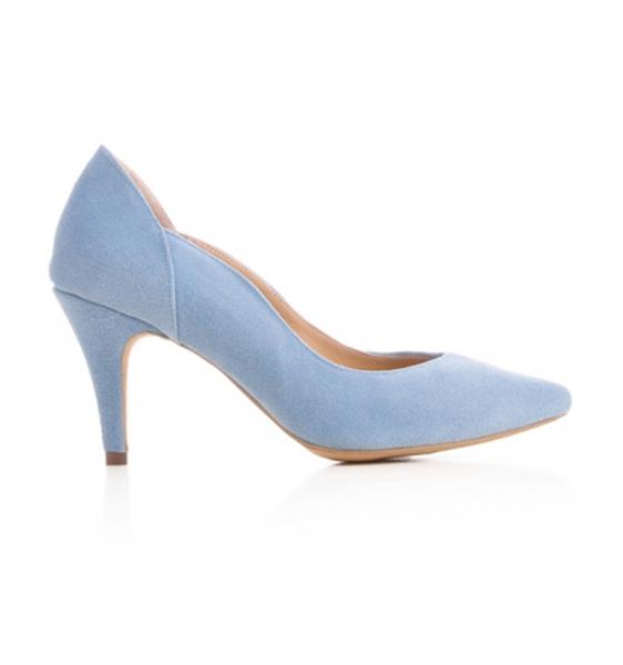 Pantofi stiletto din piele albastra intoarsa [0]