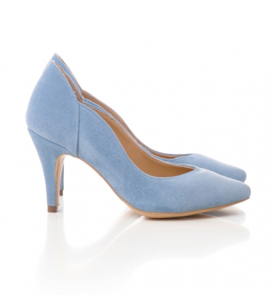 Pantofi stiletto din piele albastra intoarsa [1]