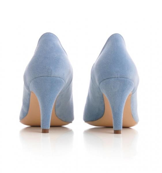 Pantofi stiletto din piele albastra intoarsa [2]