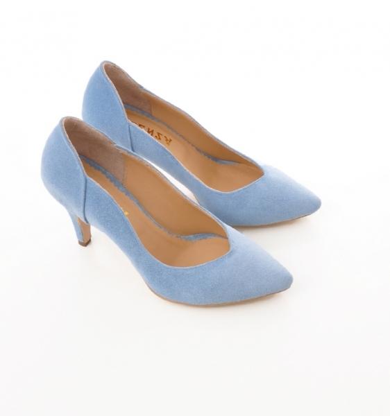 Pantofi stiletto din piele albastra intoarsa [4]