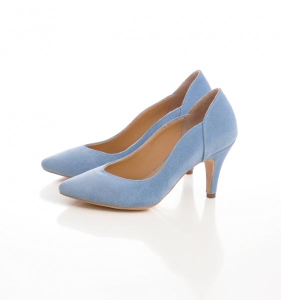 Pantofi stiletto din piele albastra intoarsa [3]