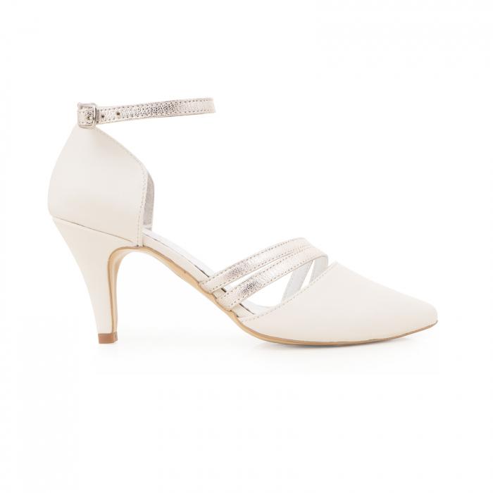 Pantofi din piele naturala alb unt, cu decupaj si barete din piele aurie [0]