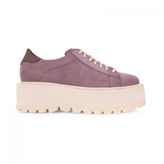 Pantofi cu talpă groasă, realizati din piele naturala intoarsa, mov lavanda 0