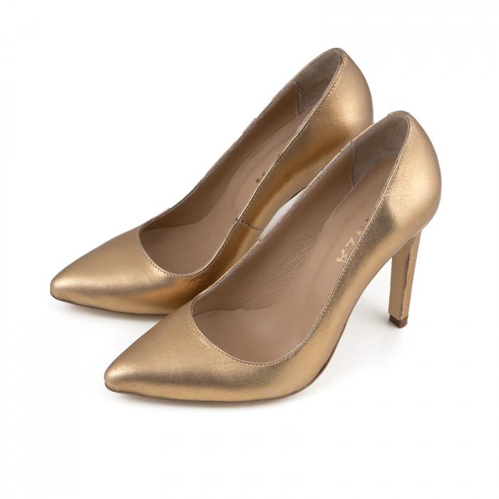 Pantofi Stiletto din piele laminata aurie 2