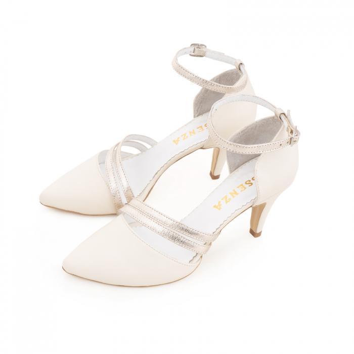 Pantofi din piele naturala alb unt, cu decupaj si barete din piele aurie [1]