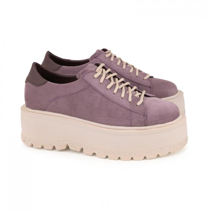 Pantofi cu talpă groasă, realizati din piele naturala intoarsa, mov lavanda 1