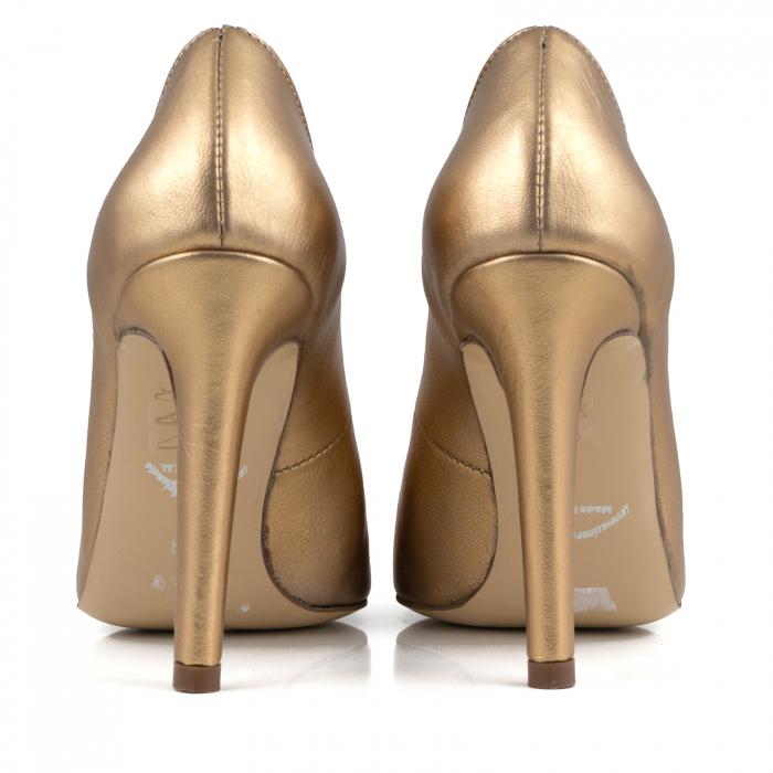 Pantofi Stiletto din piele laminata aurie 3