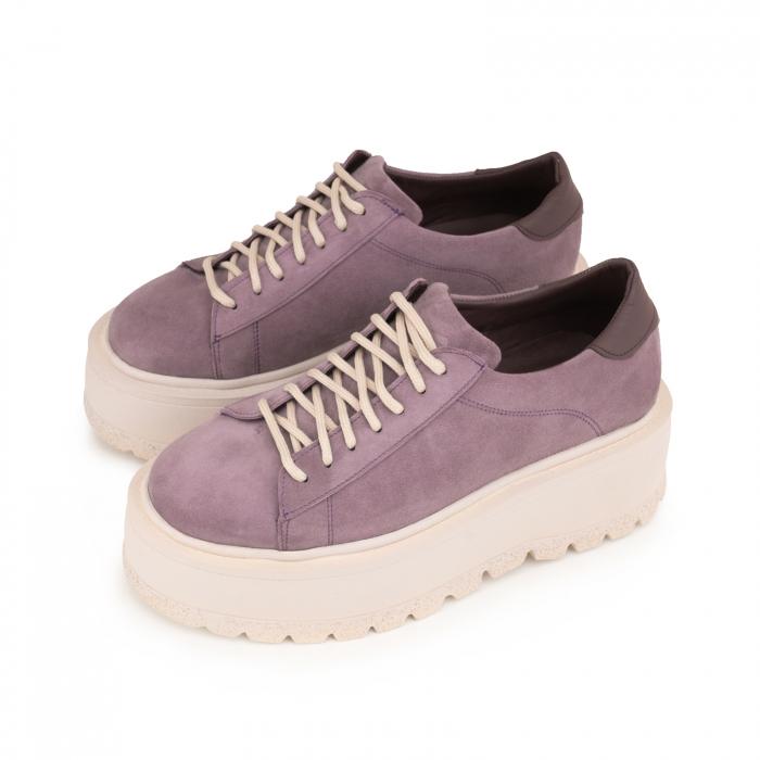 Pantofi cu talpă groasă, realizati din piele naturala intoarsa, mov lavanda 2