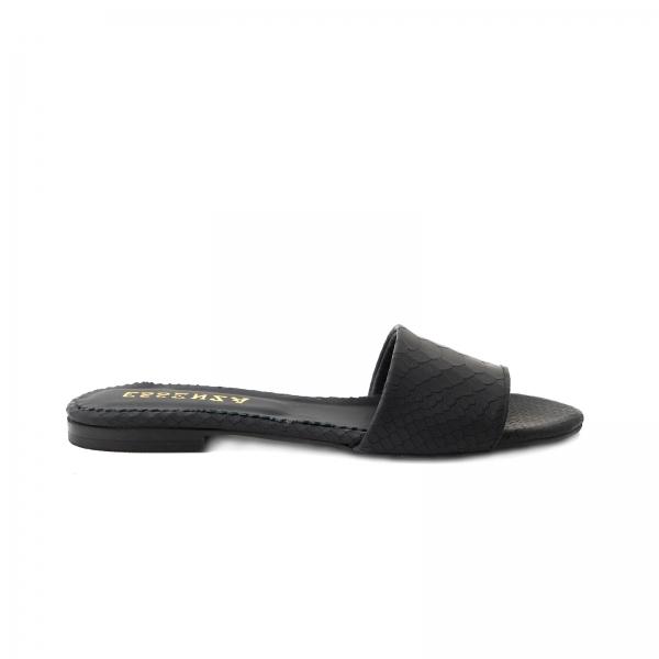 Flip flops din piele naturala neagra croco 0