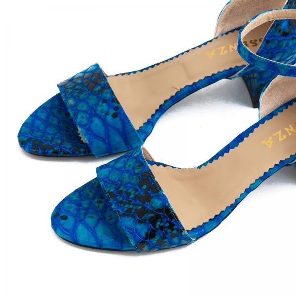 Sandale din piele albastra lacuita 5