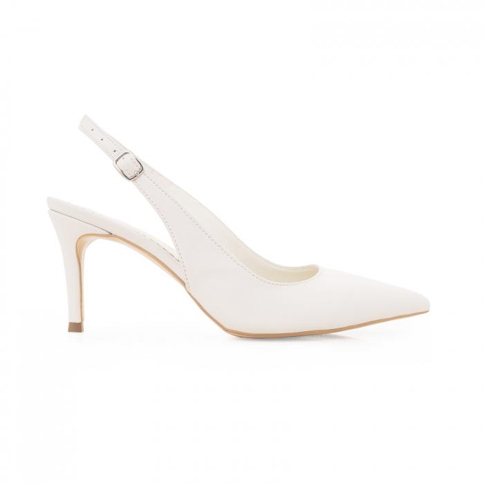 Pantofi stiletto decupati din piele naturala alb unt 0