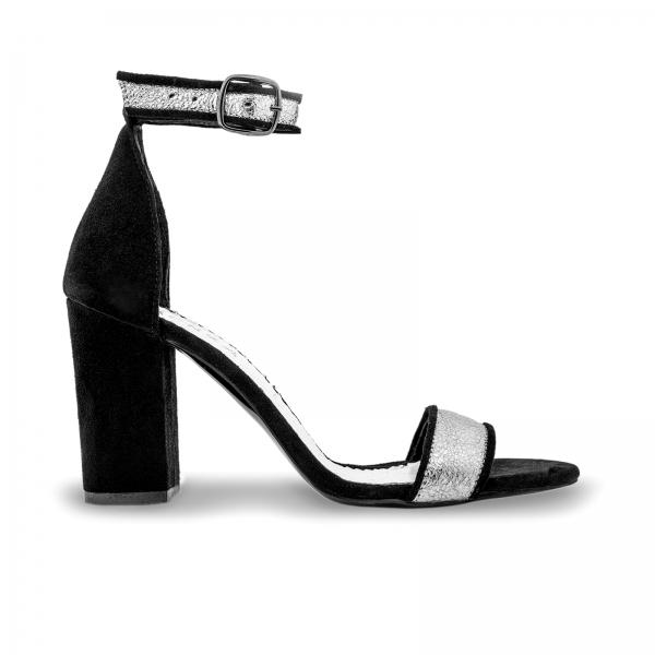 Sandale cu toc gros, din piele naturala neagra si piele argintie 0