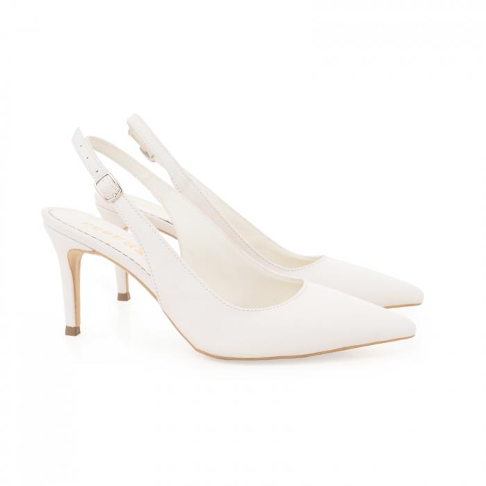 Pantofi stiletto decupati din piele naturala alb unt 1