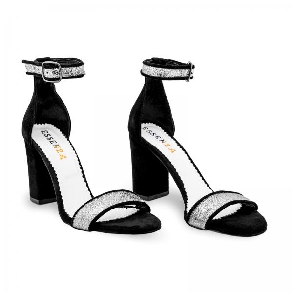 Sandale cu toc gros, din piele naturala neagra si piele argintie 1