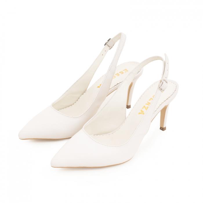 Pantofi stiletto decupati din piele naturala alb unt 2