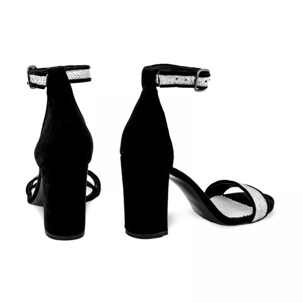 Sandale cu toc gros, din piele naturala neagra si piele argintie 2