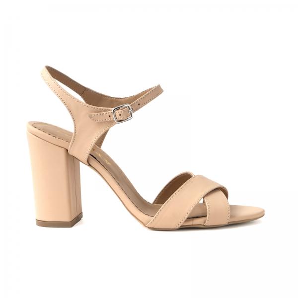 Sandale din piele naturala nude, cu toc patrat 0