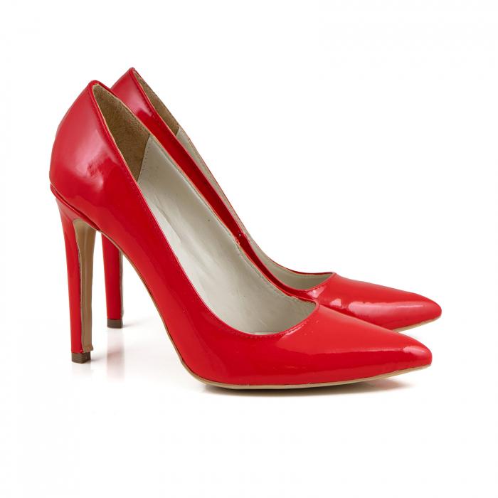 Pantofi Stiletto din piele lacuita rosie 3