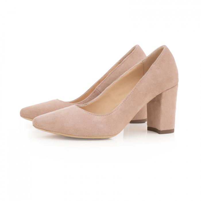 Pantofi cu toc patrat, din piele naturala intoarsa, beige [1]