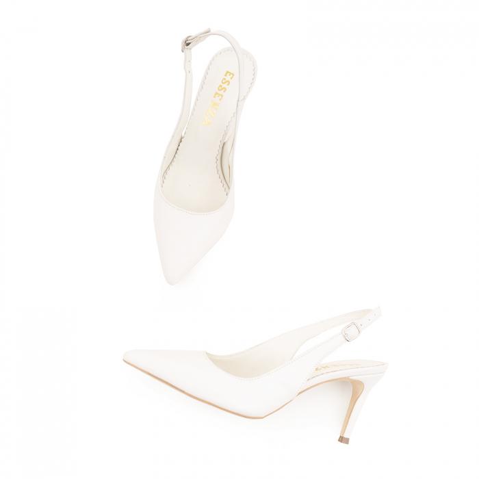 Pantofi stiletto decupati din piele naturala alb unt 3