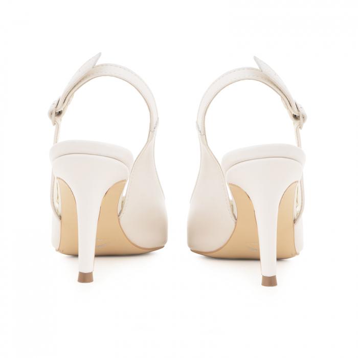 Pantofi stiletto decupati din piele naturala alb unt 4
