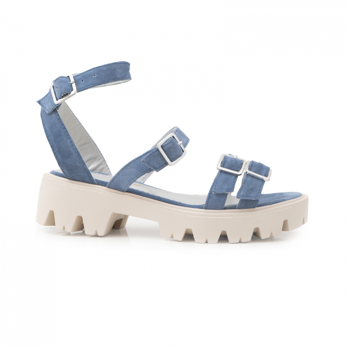 Sandale cu talpa groasa si barete cu catarame, din piele intoarsa albastru seren 0