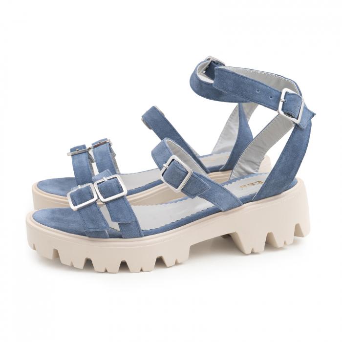 Sandale cu talpa groasa si barete cu catarame, din piele intoarsa albastru seren 1
