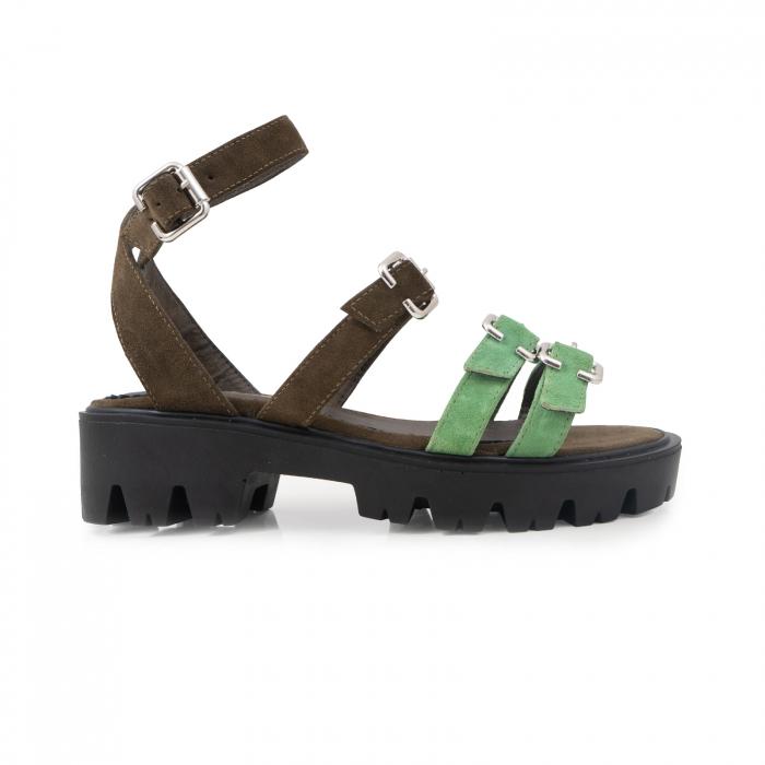 Sandale cu talpa groasa si barete cu catarame, din piele cachi si verde menta 0