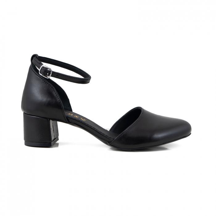 Pantofi cu varf rotund cu decupaj si bareta la calcai, din piele naturala neagra 0