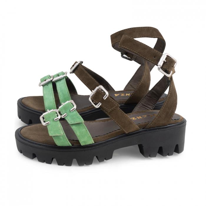 Sandale cu talpa groasa si barete cu catarame, din piele cachi si verde menta 1
