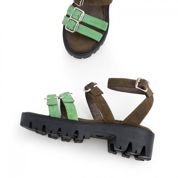 Sandale cu talpa groasa si barete cu catarame, din piele cachi si verde menta 2