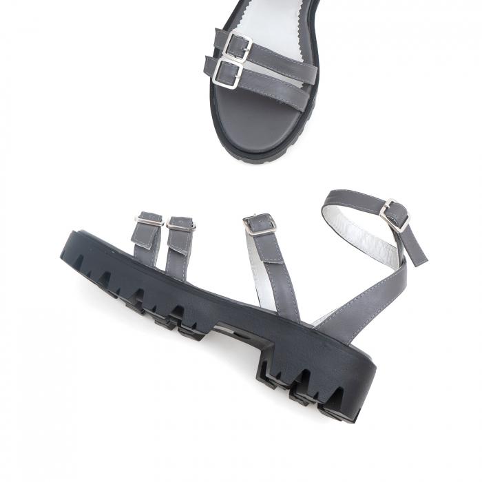 Sandale cu talpa groasa si barete cu catarame, din piele gri [2]