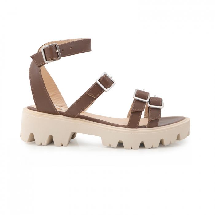 Sandale cu talpa groasa si barete cu catarame, din piele maron 0