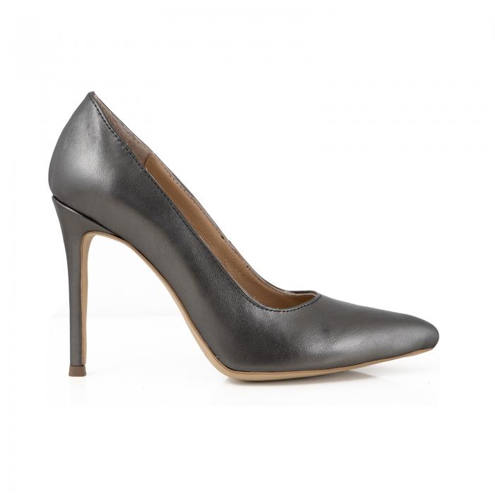 Pantofi Stiletto din piele gri metalizat 0