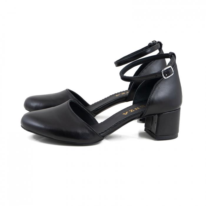 Pantofi cu varf rotund cu decupaj si bareta la calcai, din piele naturala neagra 1