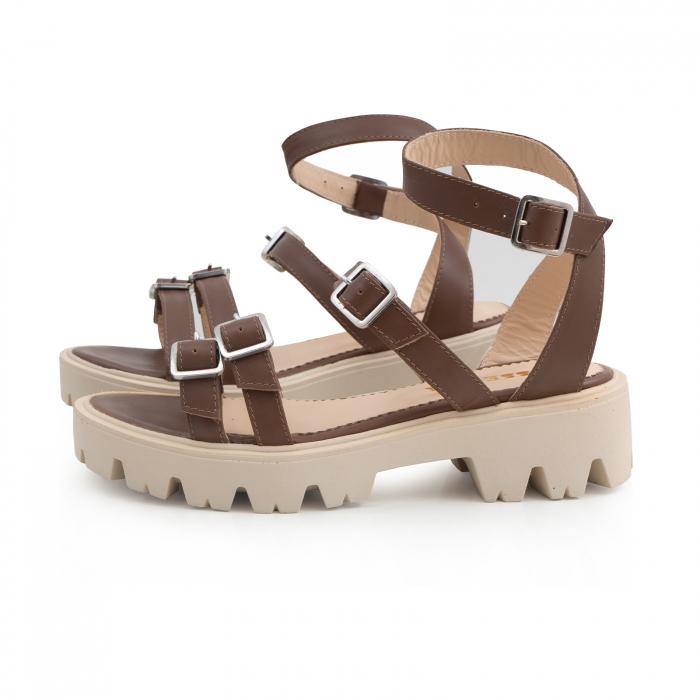 Sandale cu talpa groasa si barete cu catarame, din piele maron 1