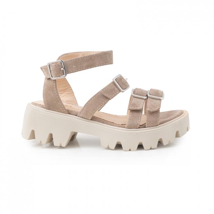 Sandale cu talpa groasa si barete cu catarame, din piele intoarsa camel 0