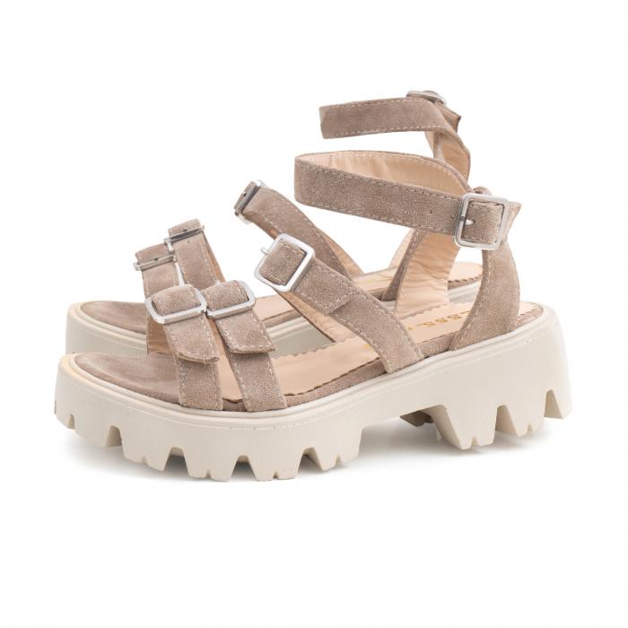 Sandale cu talpa groasa si barete cu catarame, din piele intoarsa camel 1