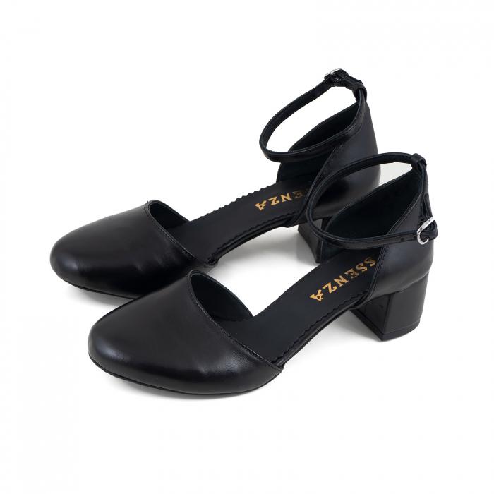 Pantofi cu varf rotund cu decupaj si bareta la calcai, din piele naturala neagra 2