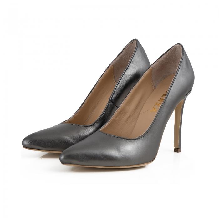 Pantofi Stiletto din piele gri metalizat 2