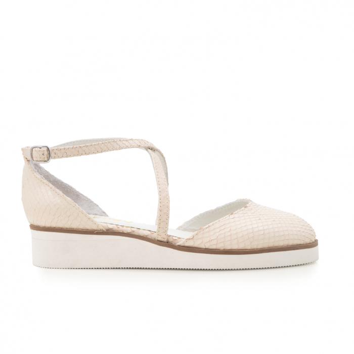Pantofi decupati, din piele naturala bej cu presaj sarpe 0